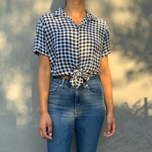American Apparel Gingham Button-up Crop Top
